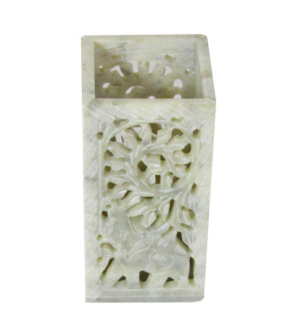 Soapstone Pen Stand Carved Painted Size 4 X2 Inch