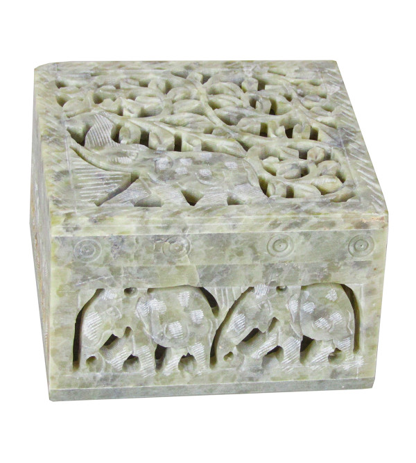 Soapstone Box Carved Painted Size 4 X4 X2.5 Inch