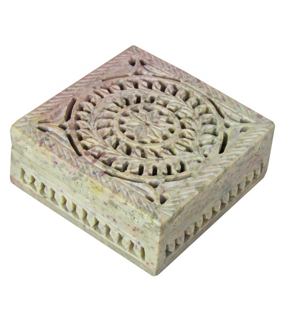 Soapstone Box Carved  Painted Size 4 X4 X1.5  Inch