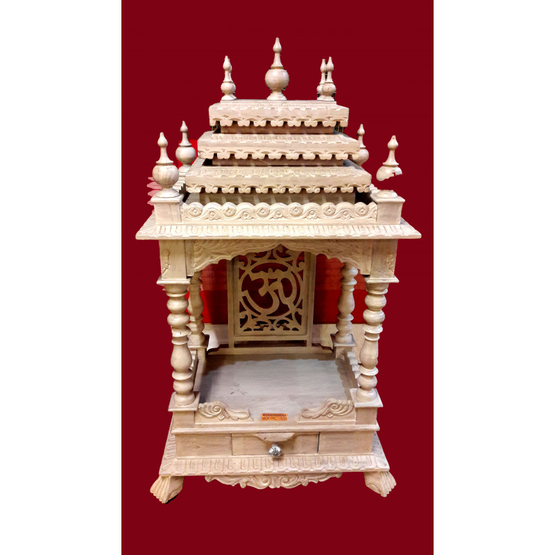 TEMPLE WITH TILE WORK TEAK WOOD S-23x15x38 inch