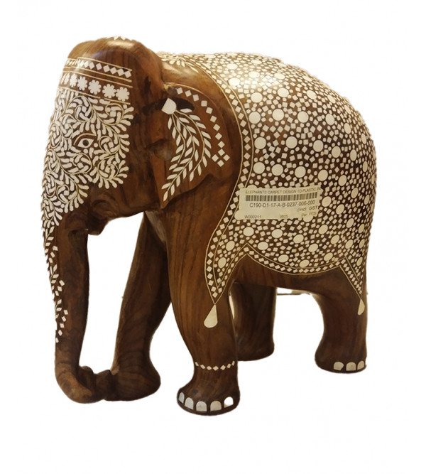 Handcrafted Wooden Inlay Work Elephant Size 12 Inch (INlay 35F)