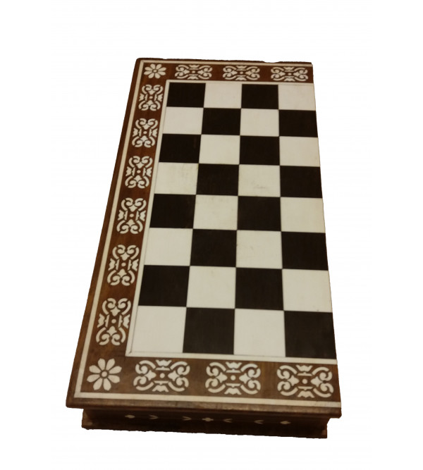 INLAID CHESS BOARD WITH MEN 15 INCH