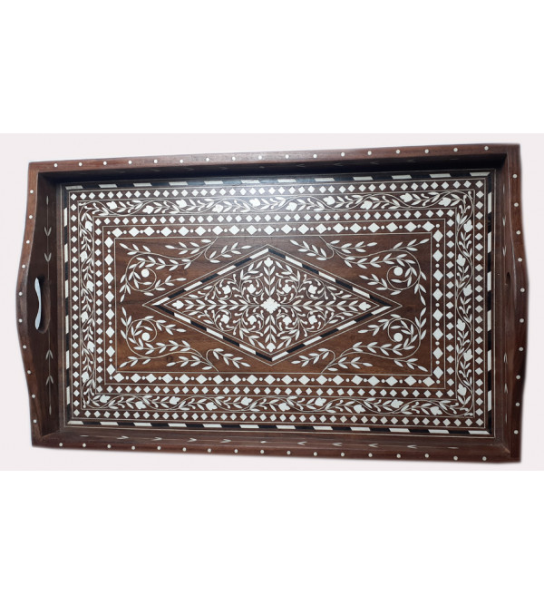 Handcrafted Wooden Inlay Work Tea Tray Size 11x18 Inch