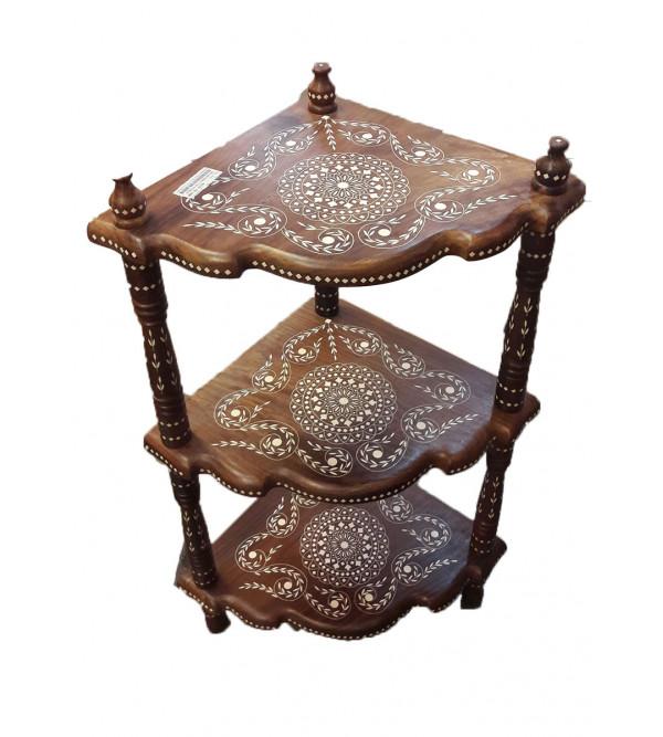 Sheesham Wood Handcrafted Corner Shelves with Acrylic Inlay Work