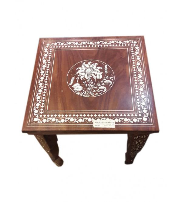 TABLE SQUARE SHEESHAM WOOD INLAY s-15x15x15 inch