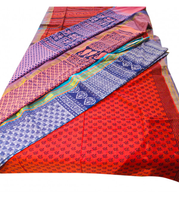 WOOVEN SAREE WB HL COTTON DOBBY BORDER assorted Colors and patterns