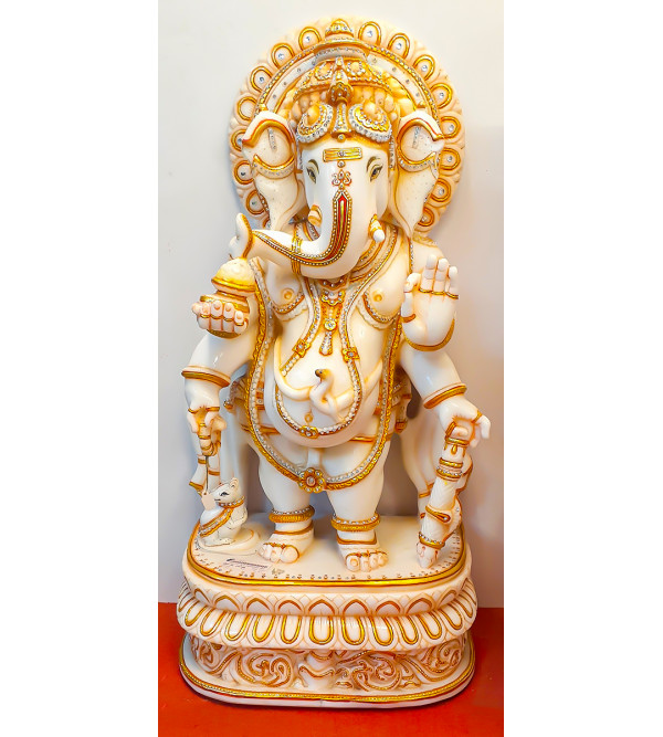 Marble Carved With Gold Leaf Ganesha Statue Size 50 Inch