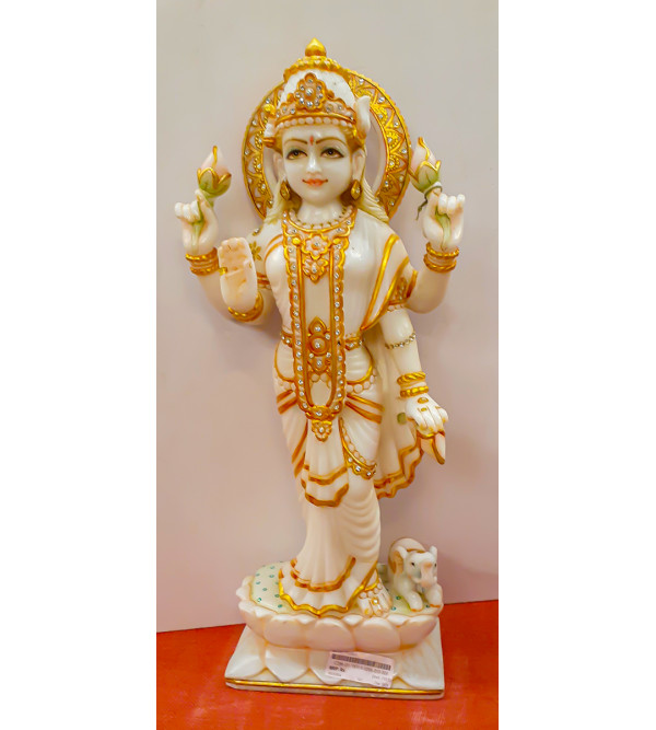 Marble Carving With Gold Leaf Laxmi Figure Size 45 Inch