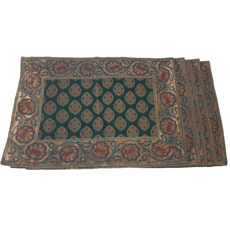 Silk Brocade Handwoven Table Mat Size 13x19 Inch