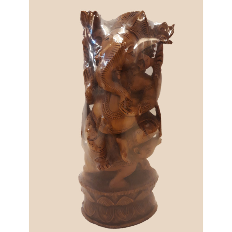 Sandalwood Handcrafted Carved Standing Figure of Lord Ganesha
