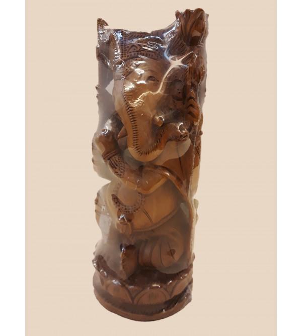 Sandalwood Handcrafted Carved Sitting Lord Ganesha Figure
