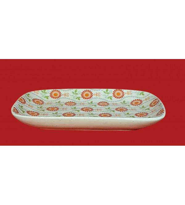 Khurja Pottery Rectangular Tray Size 6x8 Inch