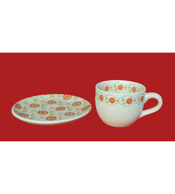 Handcrafted Khurja Cup And Plate Set Size 3.5 Inch And 5 Inch