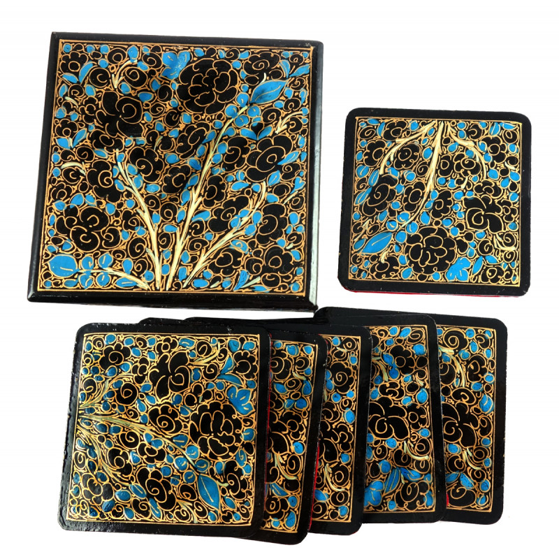HANDICRAFT PAPER MACHE COASTER 7 Pcs SET SQUARE SHAPE ASSORTED COLOR