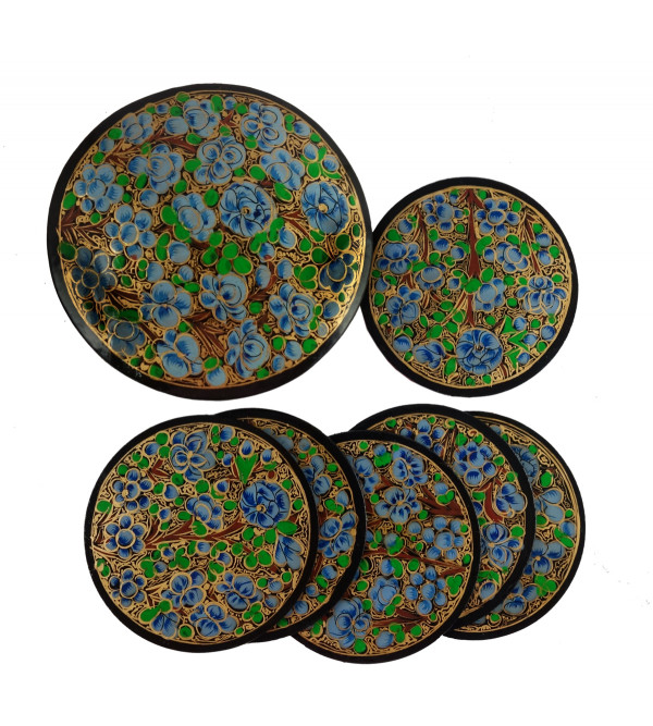 HANDICRAFT PAPER MACHE COASTER SET 7 Pcs ROUND SHAPE ASSORTED COLOR