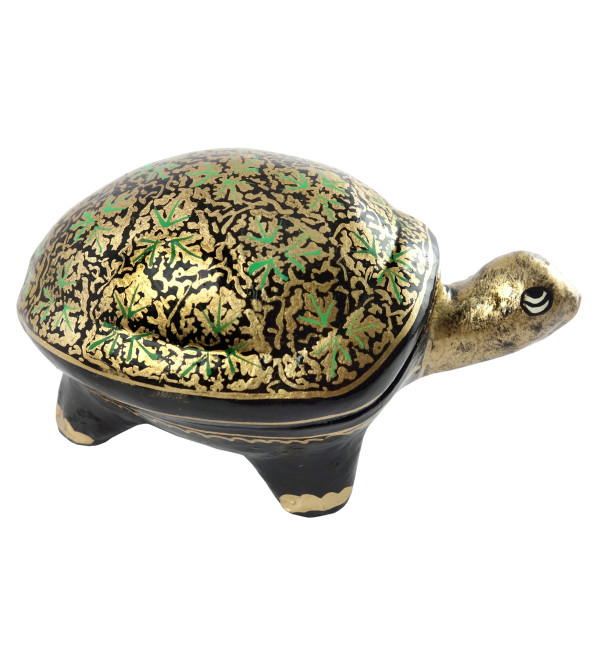 HANDICRAFT PAPER MACHE BOX TORTOISE MEDIUM ASSORTED COLOR AND DESIGN