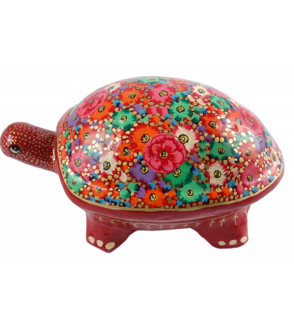 HANDICRAFT PAPER MACHE BOX LARGE TORTOISE ASSORTED COLOR AND DESING