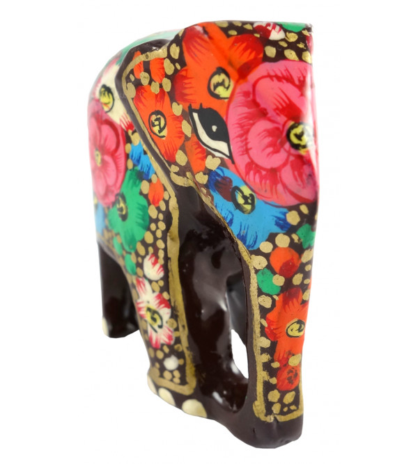 HANDICRAFT PAPER MACHE ELEPHANT 2 INCH ASSORTED COLOR AND DESIGNS