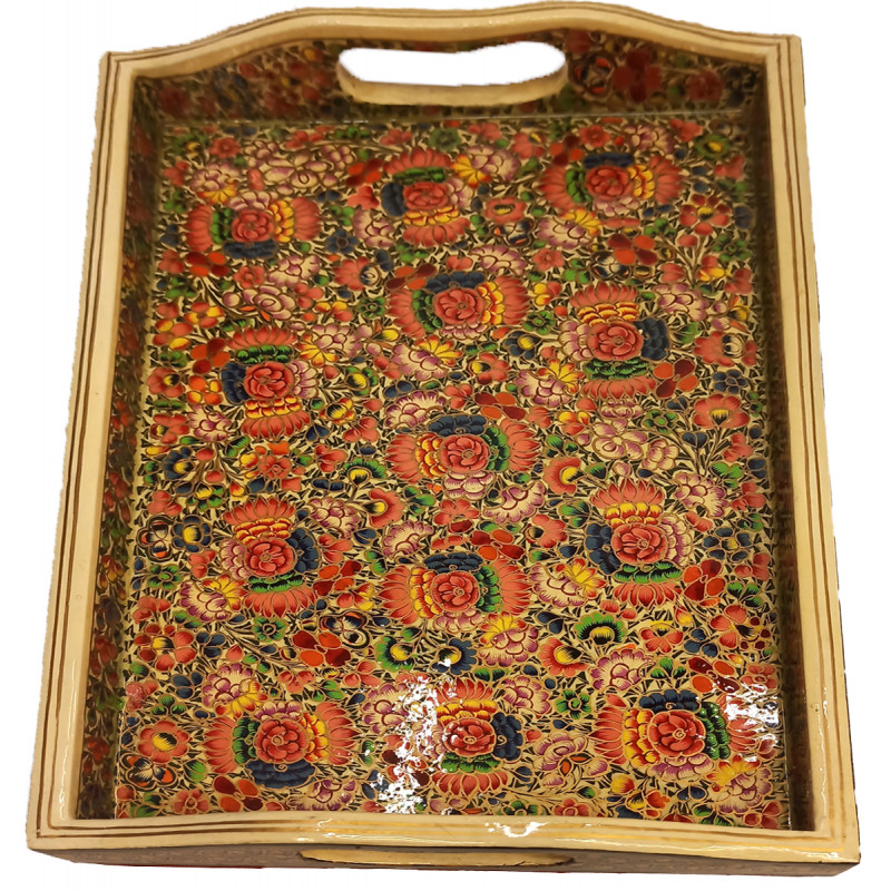 Papier Mache Handcrafted Tray with Handle