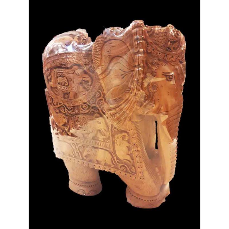 ELEPHANT CARVED SANDALWOOD 10 INCHES