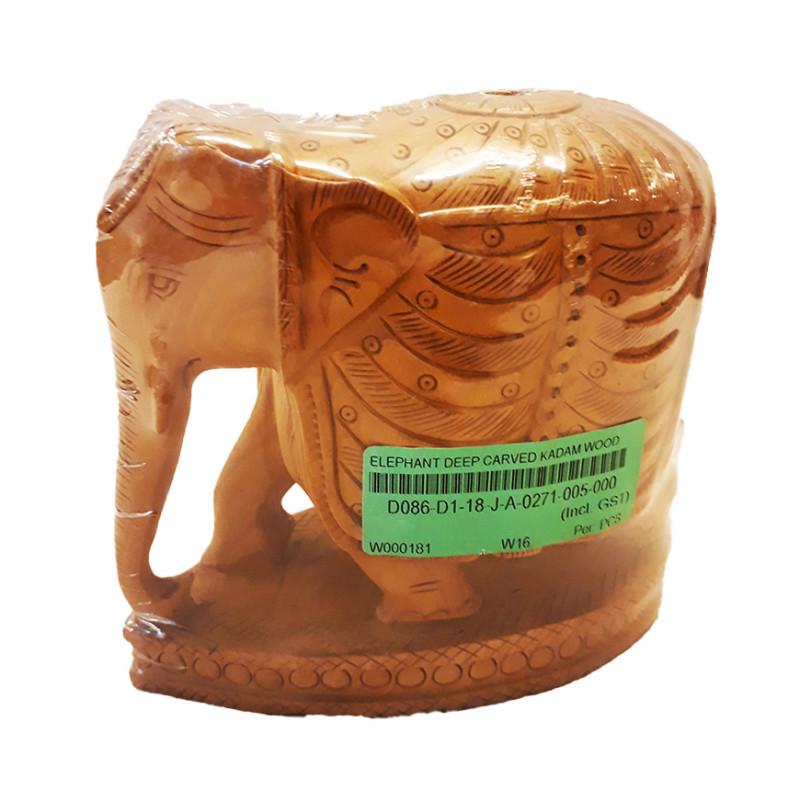 ELEPHANT DEEP CARVED KADAM WOOD 5 INCH