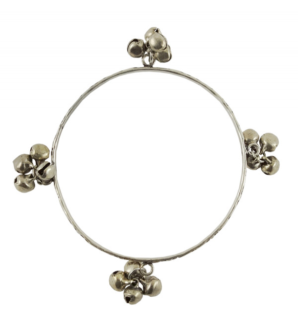 HANDICRAFT BANGLE WHITE METAL 2.5 INCH