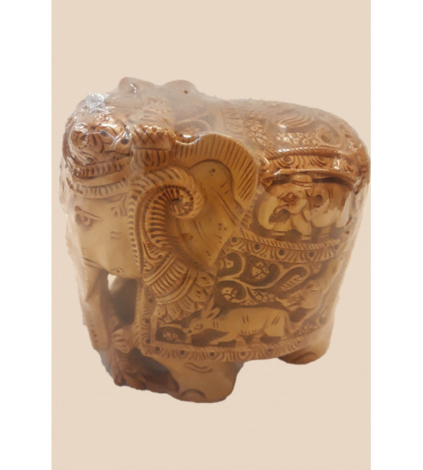 ELEPHANT CARVED SANDALWOOD 4 INCH