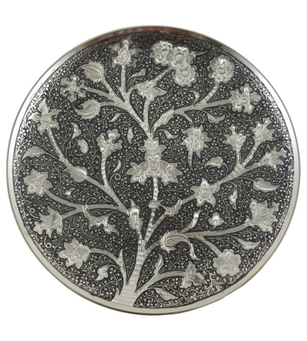 HANDICRAFT NICKEL PLATED PLATE 8 INCH