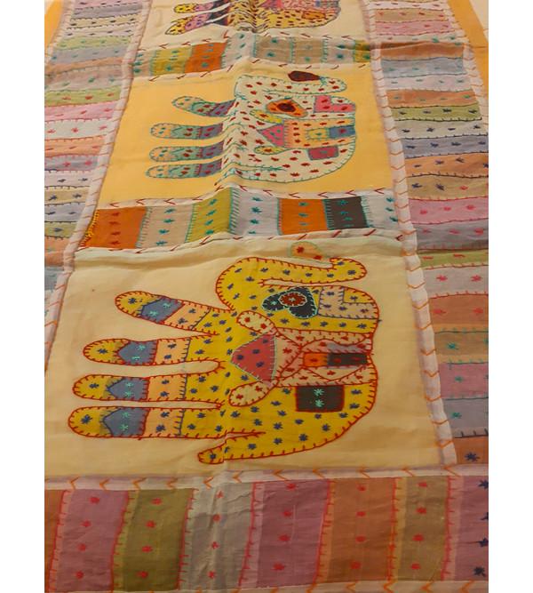 Cotton Applique Work Runner With Kantha Stitch Size 13x60 Inch