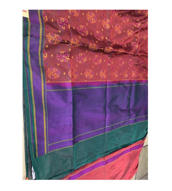 Tanchoi Silk Handloom Banarasi Saree With Blouse