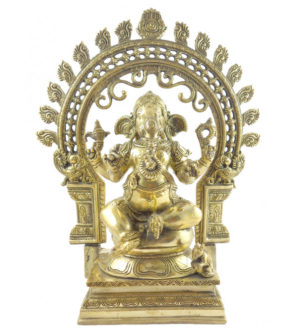 HANDICRAFT BRASS GANESH SITTING 15.5 INCH