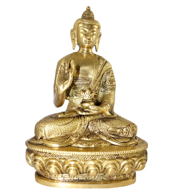 HANDICRAFT BRASS BUDDHA SITTING 8.5 INCH