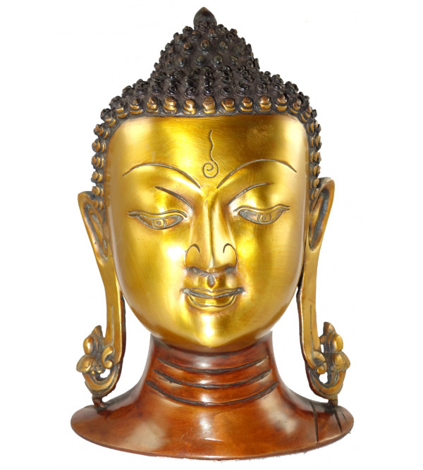 HANDICRAFT BRASS BUDDHA HEAD 11 INCH
