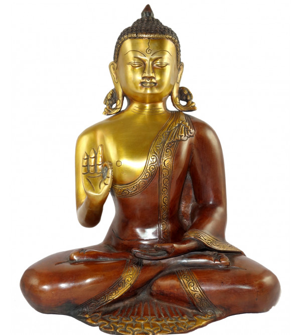 HANDICRAFT BRASS BUDDHA SITTING 13 INCH
