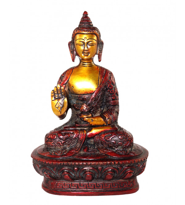 HANDICRAFT BRASS BUDDHA SITTING 7 INCH