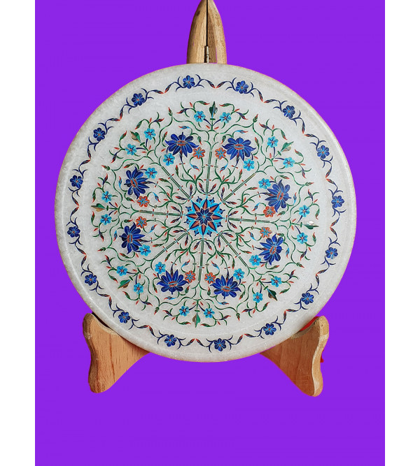 Marble Plate Handcrafted With Semi Precious Stone Inlay Work Size 9 Inch