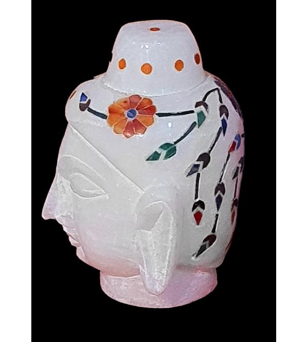 3inch Alabaster Buddha head inlay semi precious stones