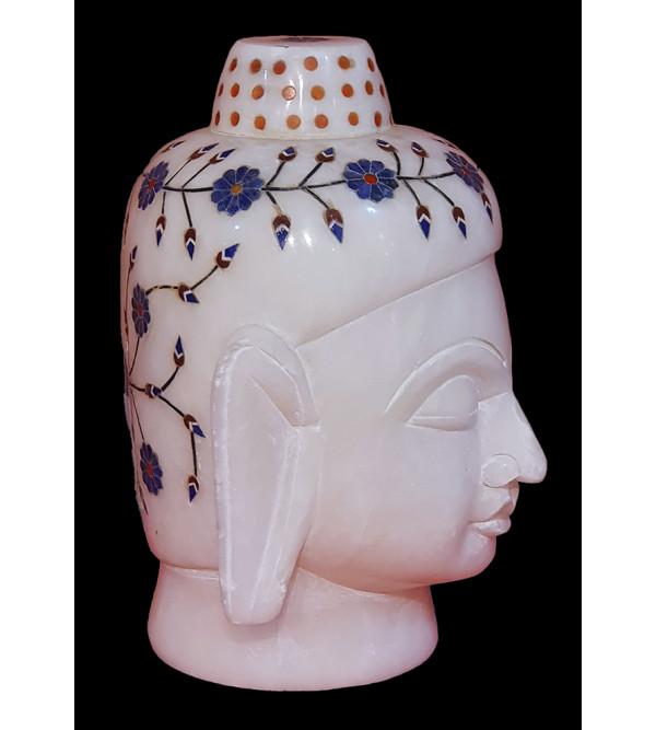 Alabaster  Budha Head With Semi Precious Stone Inlay Size 5 Inch