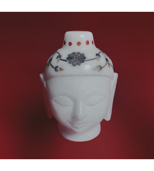 Alabaster Budha Head With Semi Precious Stone Inlay Size 3 Inch