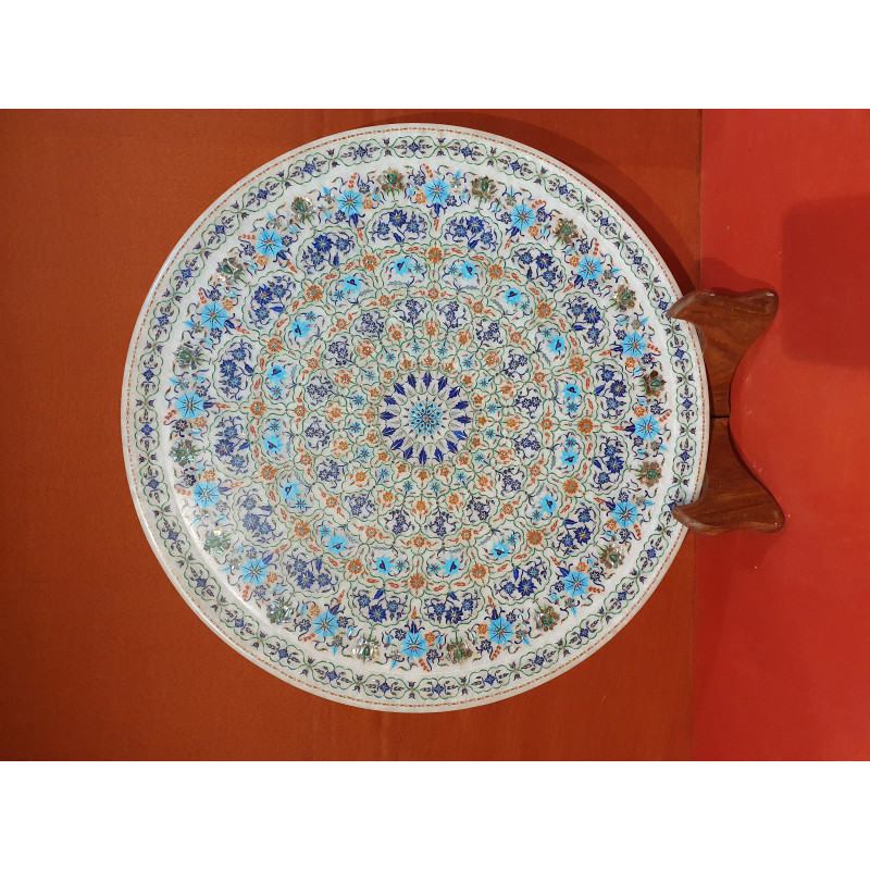 Marble Plate with Semi-Precious Stone Inlay Work Size 18 Inch