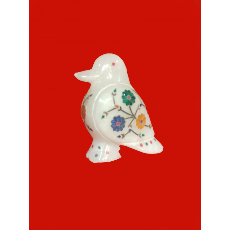 Alabaster Bird With Semi Precious Stone Inlay Size 3.5 inch
