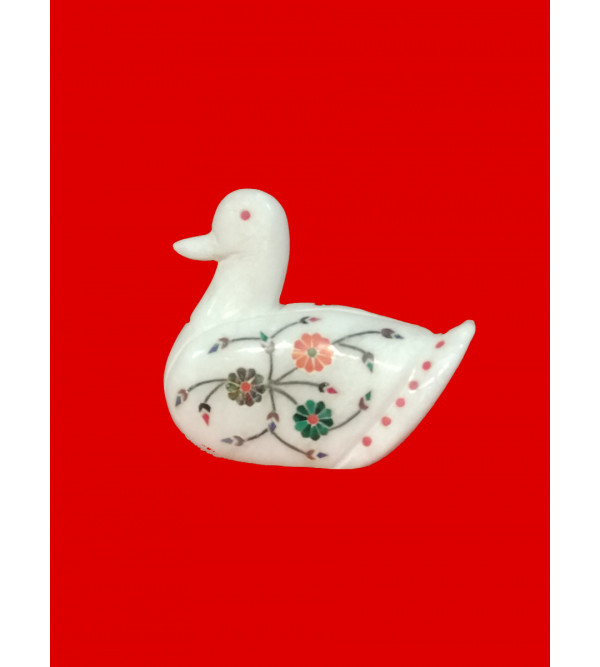 Alabaster Swan With Semi Precious Stone Inlay Work Size 3 Inch
