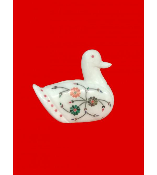 Alabaster Swan with semi precious stone inlay Size 3 inch