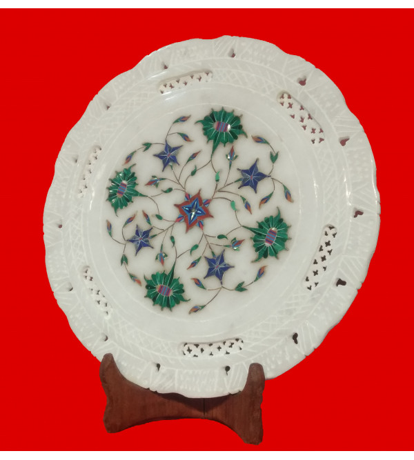 Alabaster Plate With Semi-Precious Stone Inlay Work Size 10 Inch