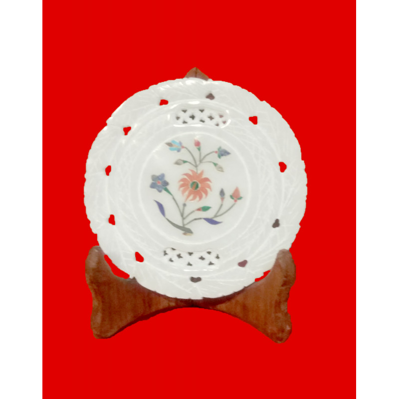 Alabaster Plate With Semi-Precious Stone Inlay Work Size 5 Inch