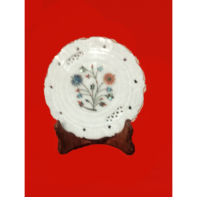 Alabaster Plate With Semi-Precious Stone Inlay Work Size 6 Inch