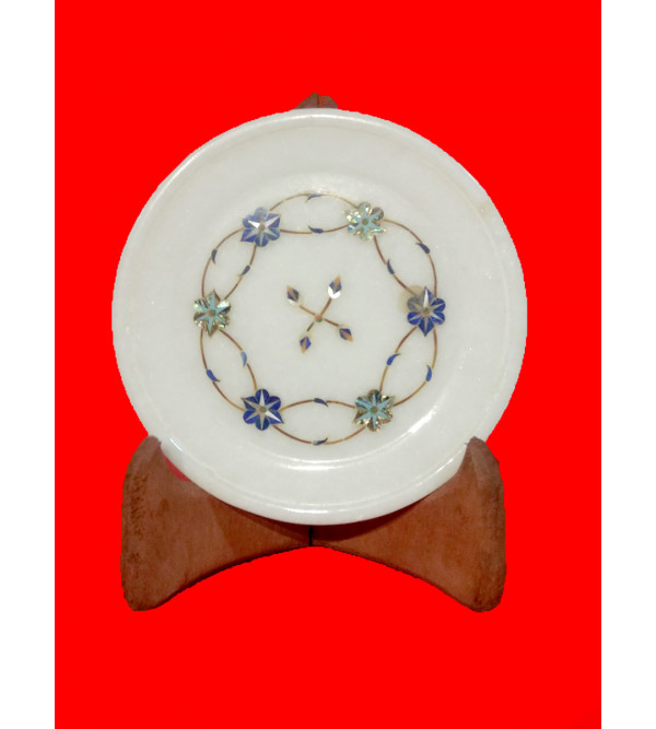 Alabaster Plate With Semi-Precious Stone Inlay Work Size 8 Inch