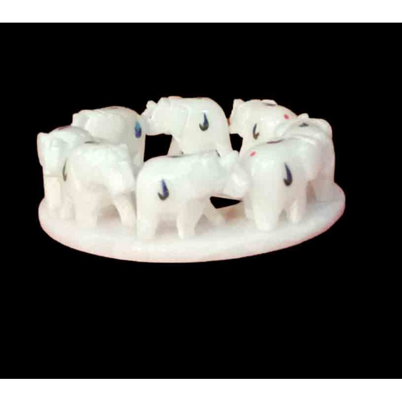 Marble Inlay Ring Of 8 Elephants Size 7 Inch