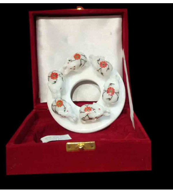 Marble Inlay Ring Of Six Elephants Size 5 Inch