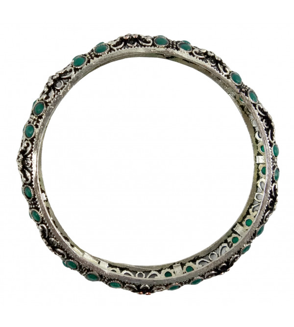HANDICRAFT BANGLE WHITE METAL MULTI COLOR 2.6 INCH